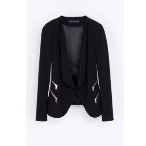 Zara Black Double Zip waterfall blazer size XS